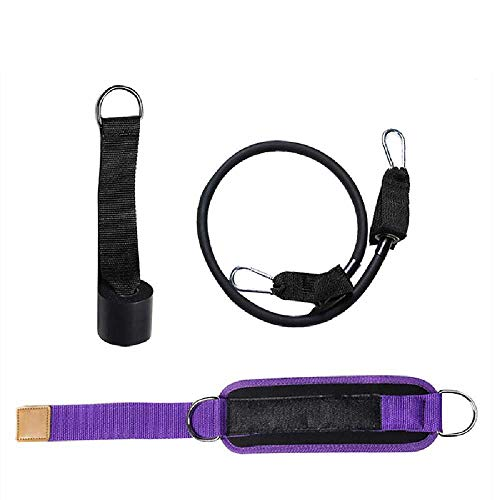 miaomao 3PCs Sports Ankle Straps For Cable Machine Adjustble Padded Ankle Cuffs with Elastic Tube and Door Anchor, Anklet For Leg Strength Training Purple