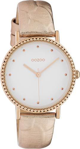Oozoo Flache Damenuhr mit Lederband 34 MM Weiß/Rosegold C10423