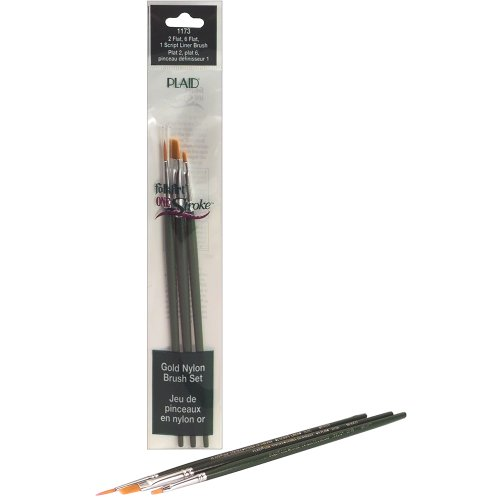 Plaid FolkArt One Stroke Liner Mini Brush Set, Flat, Size 1,2 and 6