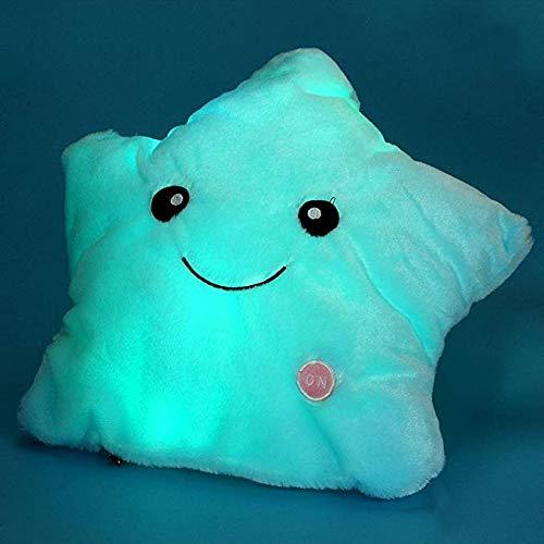 Leuchtende LED Glücksstern Plüschkissen Kinder Spielzeug Geburtstag Geschenk leuchtende gefüllt Kissen Kissen Spielzeug, blau, 38 x 38 cm