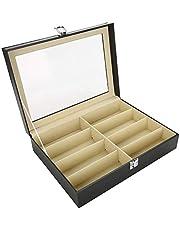 Box Organizer, Bril Opbergdoos Transparante Cover Stofdicht en Vochtbestendig 8 Grids Transparante Zonnebril Opbergkoffer met Bril Opbergdoos voor Binnen