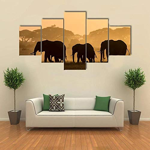 5 Panels Wall Art Painting Silhouettes of Elephants Pictures Prints On Canvas The Picture Decor for Home Creative Gift Ready to Hang