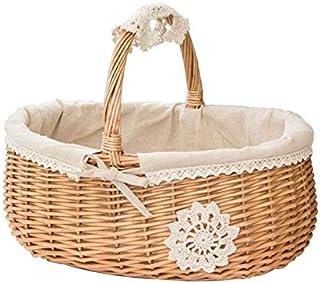 KANJJ-YU Panier en osier Rattan Basket de rangement Boîte Panier de pique-nique Panier de fleurs de fruits avec couvercle ...