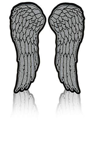 Daywalker Bikestuff Angelwings Patch Embroidered Stick Silber Lurex 2 x Flügel EIN Pärchen das eure Jeansweste verschönert.