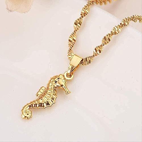 ZGYFJCH Co.,ltd Collar Mujer Hippocam2021s Colgante Collar Joyas para Mujeres/Hombres Amantes Regalo de San Valentín Venta al por Mayor Romántico Color Dorado Joyas de Perlas de Lujo