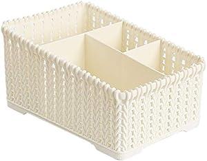 Zenglingliang Storage Chests Rattan-Like Multi-Grid Desktop Cosmetic Storage Box Plastic Debris Finishing Box Household Lipstick Remote Control Storage Box Finishing Box (Color : B)