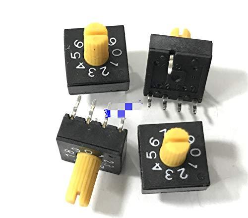 WHBGKJ Interruptor Giratorio 3 unids 0-9 Interruptor de codificación Giratorio Interruptor Dip 10 Posición Codificación de PCB Interruptor 8421C Código Positivo 4: 1 con asa