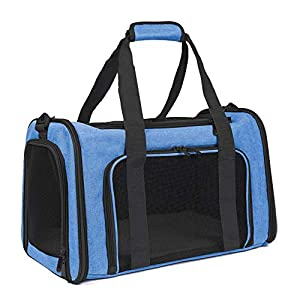 EOOORL Cat Carriers Dog Carrier Pet Carrier for Small Medium Cats Dogs Puppies of 18 Lbs, TSA Airline Approved Small Dog Carrier Soft Sided, Collapsible Puppy Carrier Blue