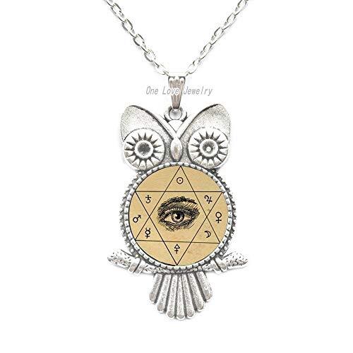 Ni36uo0qitian0ozaap Collar de búho oculto de ojo místico,Collar de búho hexagonal de mística,Joyería de cristal,TAP162