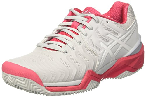 ASICS Gel-Resolution 7 Clay Womens Tennis Shoes E752Y Sneakers Trainers (UK 8 US 10 EU 42, Grey White red 9601)