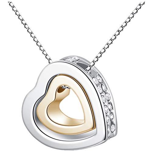 Dorical Damen 925 Sterling Silber 3A Zirkonia Halskette exquisite Geschenk/Frauen Halskette Beliebte Schmuck dchen Geschenk Promo (One size, Q)