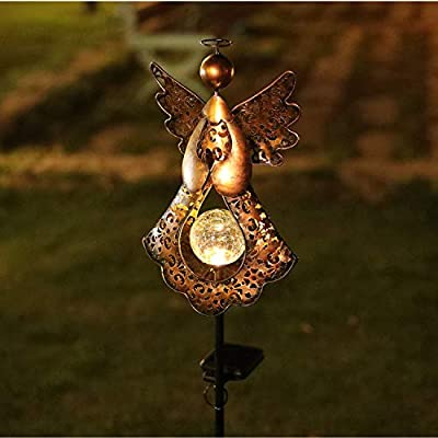 HDNICEZM Solar Garden Stake Lights – Metal Angel Solar Warm White LEDs Stake Light Memorial Gift - Solar Angel Lights Perfect as Angel Remembrance Gifts & Sympathy Gifts