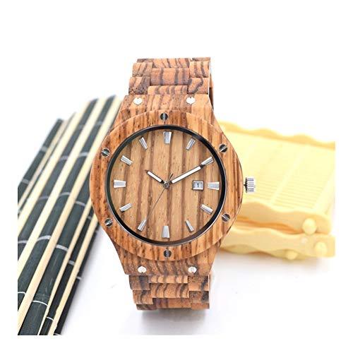Mirar WHQ Reloj de Madera - Reloj de Cuarzo de Madera for la Salud Ambiental, Hecho a Mano, Mesa de Madera Simple de Moda, Recuerdo QD