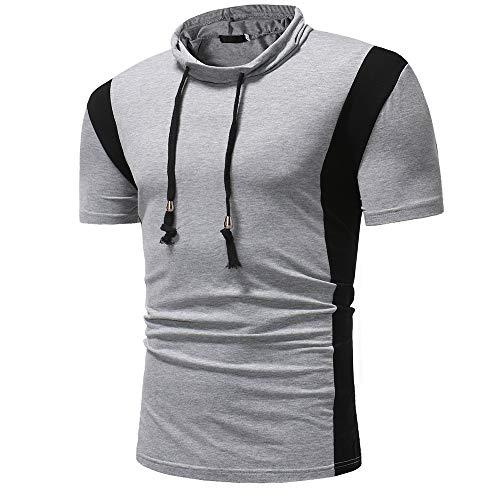 T-Shirt Hombre Verano Costura Autocultivo Hombre Sudadera con Capucha Básica Botones Decorativos Moda Manga Corta Hombre Shirt Elástica Deportes Viajes Hombre Shirt Casual G-Gray2 L