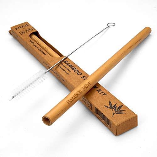 Set di 3 cannucce di bambù – Move Line by Bamboo Step: 1 cannuccia riutilizzabile e un pennello per la pulizia è scatola di carta kraft, dimensioni del diametro del frullato.