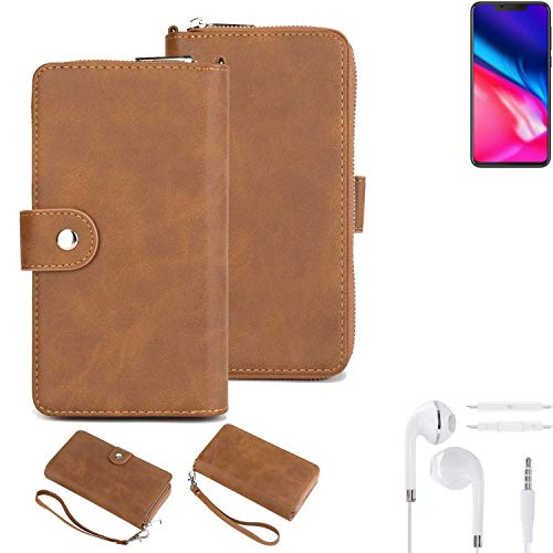K-S-Trade® Handy-Schutz-Hülle Für Cubot P201 + Kopfhörer Portemonnee Tasche Wallet-Case Bookstyle-Etui Braun (1x)