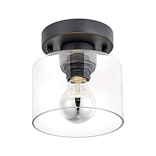 Modern Flush Mount Ceiling Light, Clear Glass Shade,Matte Black Close to Ceiling Light Fixtures for Hallway,Passway,Entryway,Farmhouse Lighting