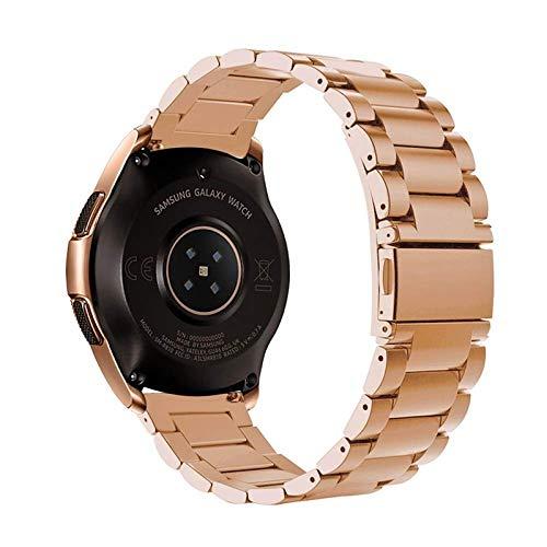 Reservearmband, horlogeband, wisselarmband, roestvrij stalen armband, 20 mm breed, geschikt voor Galaxy Watch 42 mm, Gear Sport, Gear S2 Smartwatch, roségoud, roodgoud