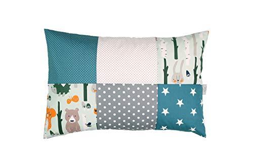 ULLENBOOM ® kussensloop voor kussens voor baby's l 40x60 cm l met ritssluiting l hoes ook geschikt voor sierkussens I bosdieren petrol