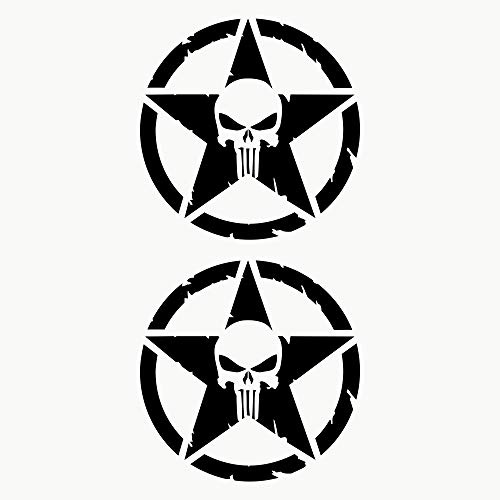 Autodomy Pegatinas Punisher Estrella Calavera Trail Off Road Todoterreno 4x4 Sport Adventure Pack 2 Unidades para Coche o Moto (Negro, 10 Cm)