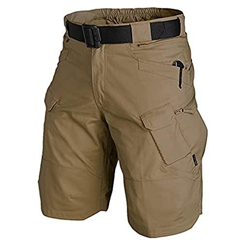 KTMAID Pantalones cortos tácticos para hombre, pantalones cortos de trabajo, para exteriores, Ripstop, pantalones cortos, ajustados, elásticos, cargo transpirables, para camping, color marrón, talla S