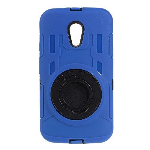 Motorola Moto G 2. Generation Outdoor Hülle TPU Hybrid Swivel Kickstand Blau