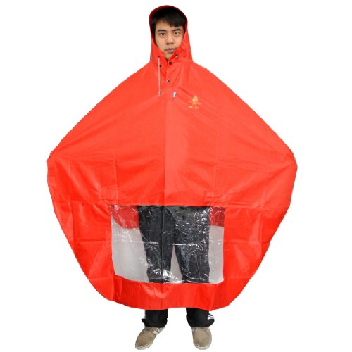 NAVAdeal Waterproof Rain Cape Mobility Scooter Cover Rainproof Coating Hooded Raincoat Rainwear Poncho | Red | Great Rain Gear for Motorized Scooter, Power Wheelchair, Bike, Keep You Dry in Rainy Days