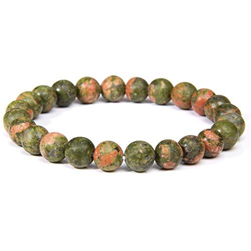 OYZK Piedra Natural Hecha a Mano Turquesa Africana Beads Pulsera Hombres Yoga Mala Joyería Verde Moss Moss Agates Pulsera con Cuentas para Mujeres Hombres (Length : 23CM, Metal Color : Unakite)