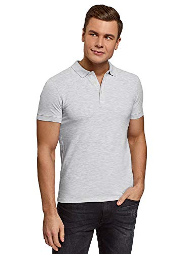 oodji Ultra Herren Pique-Poloshirt, Grau, DE 52-54 / L