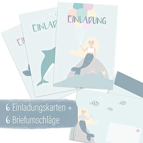 mintkind® Einladungskarten Set zum Kindergeburtstag für Mädchen – Geburtstags-Einladung für Kinder im Meerjungfrau, Delfin, Unterwasser Design | 6 Karten mit 3 Motiven + 6 passende Umschläge