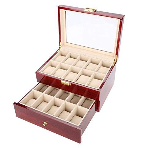 HJQL Cajas De Reloj De Madera De Doble Capa, Cajas De Reloj De Textura Suave De Color Más Claro De Laca De Piano, Un Gran Regalo para Hombres