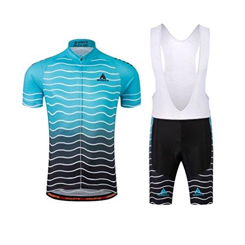 Uriah Men's Cycling Jersey Bib Shorts White Sets Short Sleeve Reflective Waves Blue Size L(CN)