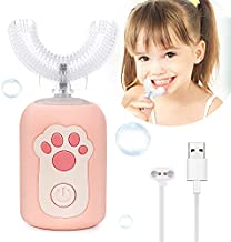 Flend Kids Auto Brush Toothbrush Electric, Ultrasonic U-Shaped Toothbrush for Kids, Rechargeable Sonic Toothbrush for Toddler with 2 Smart Modes, 360° Cleaning Kit for Kids 1-6 Years Old (Pink)