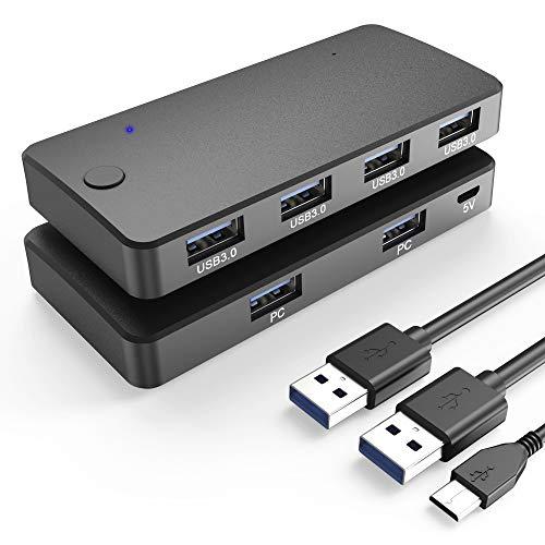 Pubioh USB 3.0 Switch Selector 4 Port USB 3.0 Teilen USB Switch 2 in 4 Out Umschalter für 2 PCs mit 1 Ladekabel und 2 USB 3.0 Kabel für Drucker Scanner Tastatur USB Sticks Festplatten Maus Headset