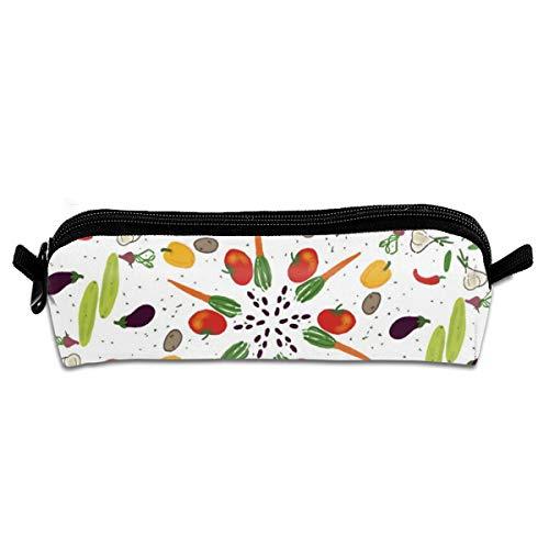 Patrón de frutas y verduras Estudiante Lápiz Estuche con cremallera Bolsa Pequeña Cosmética Maquillaje Bolsa Monedero Para Niños Adolescentes Y Otros Suministros Escolares
