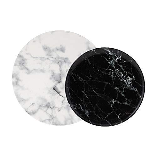 like. by Villeroy & Boch – Marmory Teller-Set, 4 tlg., Marmor-Optik, spülmaschinen-, mikrowellengeeignet, Schwarz/Weiß