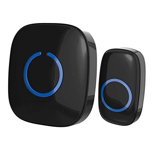 SadoTech Wireless Doorbells - Model C, 1 Push-Button Ringer & 1 Receiver, Battery Operated, Waterproof, Long Range, Portable Door Bells for Home w/ 52 Chimes & 4 Volumes, Black