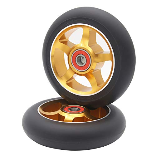 2Pcs 100 mm Pro Stunt Scooter Wheels with Abec 9 Bearings for MGP/Razor/Lucky/Envy/Vokul Pro Scooters Replacement Wheels (Gold)