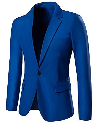 THWEI Mens Slim Fit Blazer One Button Blazer Casual Suits Sport Coats Business Daily Blazer(LightBlue-S)