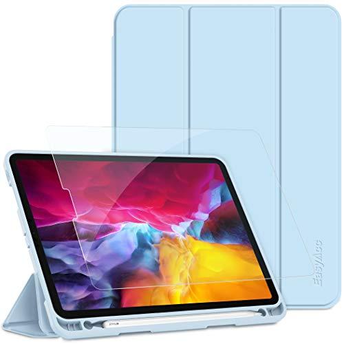 EasyAcc Hülle + Panzerglas Kompatibel mit iPad Pro 11 2020 mit Stifthalter, Ultra Dünn Smart Cover Schutzhülle, Auto Schlaf/Aufwach Funktion PU Leder Hülle,Himmelblau