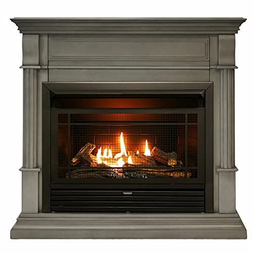 Duluth Forge Dual Fuel Ventless Gas Fireplace with Mantel - 26,000 BTU, T-Stat Control, Slate Gray Finish - Model# A-DFS-300T-2GR