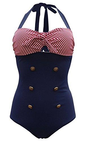 Frauen 50's Vintage Damen Retro Bandeau One Piece Bademode  High Waist Plus Size Badeanzug Bauchweg, rot- blau, XXL
