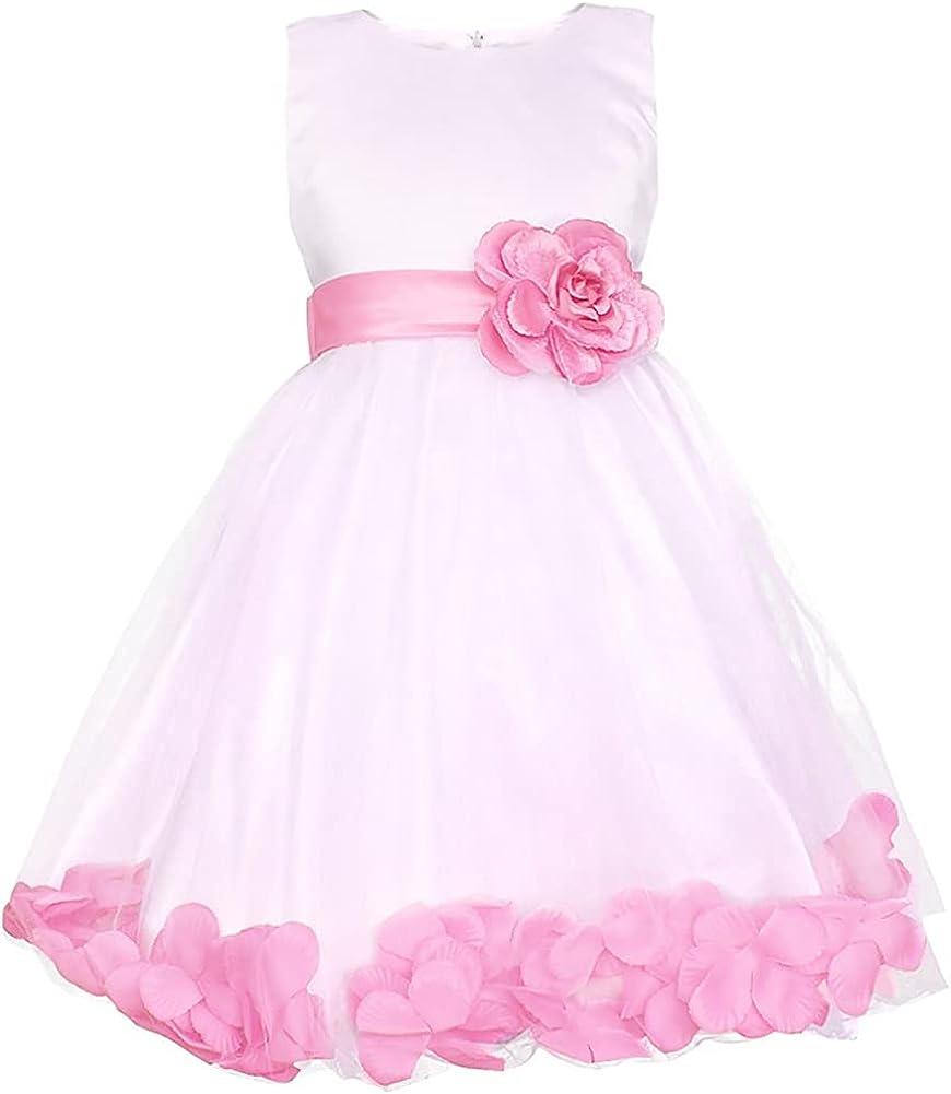 WAWALI Petal Flower Girls Dress Wedding Party Pageant Prom Ball Gowns