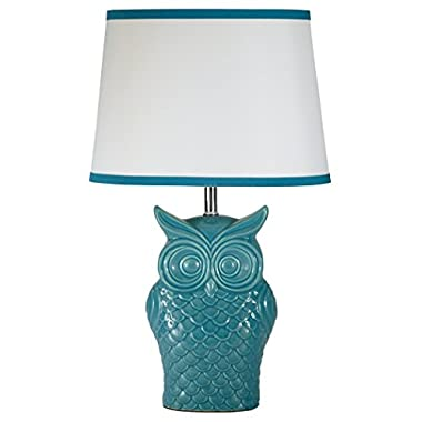 Ashley Furniture Signature Design - Sarva Owl Glaze Table Lamp - Vintage-Inspired Ceramic Base with White Shade - Blue