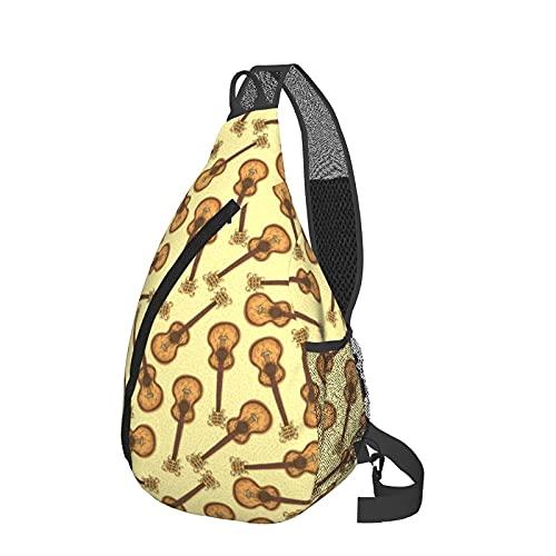 Mochila de viaje Senderismo Bolsa de pecho Wooden Acoustic Guitar Vintage Style Crossbody Shoulder Chest Bag For Travel Hiking Casual Daypack