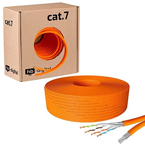 hb-digital 50m Netzwerkkabel LAN Duplex Verlegekabel Cabel cat.7 max. 1000MHz Reines Kupfer S/FTP PIMF LSZH Halogenfrei orange RoHS-Compliant AWG23 (2 verbundene Strängen)