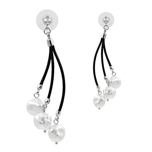 Pendientes de Mujer de Perlas Cultivadas de Agua Dulce tipo Keshi de 10,5 a 11 mm Blancas SECRET & YOU - Pendientes de Plata de Ley de 925 milésimas y Cuero Negro