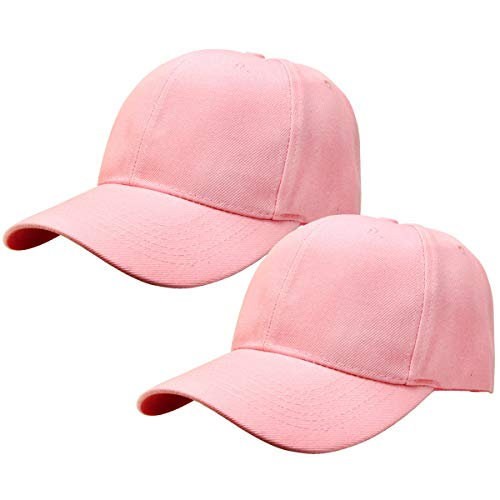 2pcs Baseball Cap for Men Women Adjustable Size Perfect for Outdoor Activities Pink/Pink