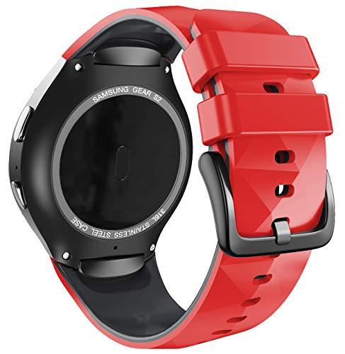 ANBEST Pulsera de Silicona Compatible con Correa Sport Gear S2 para Samsung Gear S2 SM-R720/SM-R730 Smart Watch (no para Gear S2 SM-R732), Grande, Rojo/Negro