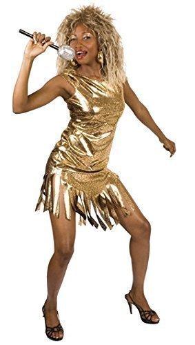 Fancy Me Femmes Pop Star célébres Célébrité Or Tina Turner année 1980 Costume déguisement